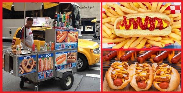 День Хот-Дога в США Американские хот-доги на улицах Нью-Йорка