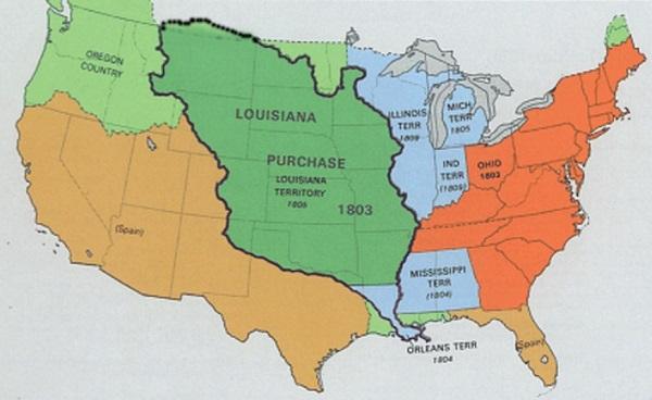 Луизианская покупка карта