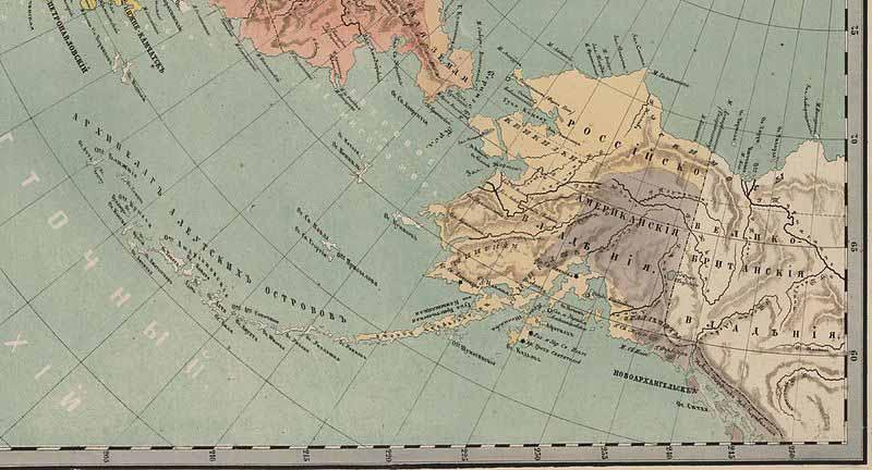 Русская Америка. Этнографическая карта. 1860 год